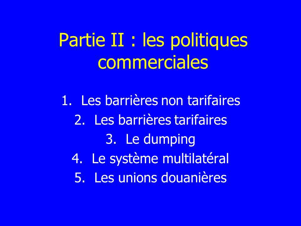 Partie II : les politiques commerciales