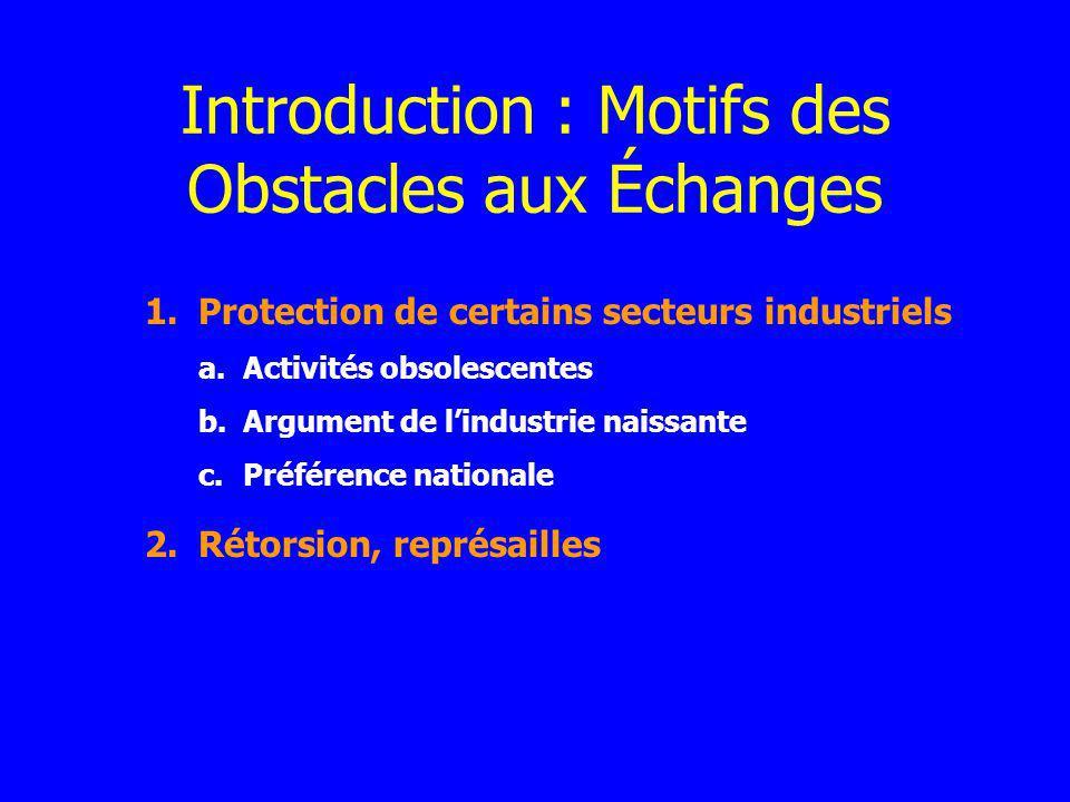 Introduction : Motifs des Obstacles aux Échanges
