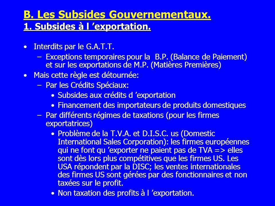B. Les Subsides Gouvernementaux. 1. Subsides à l 'exportation.