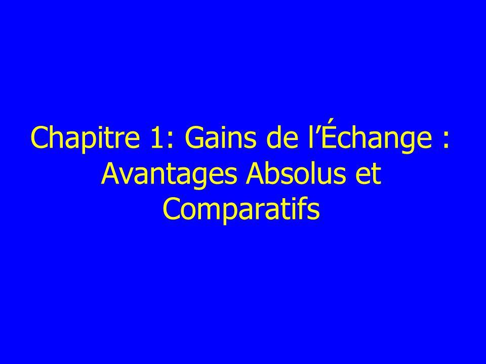 Chapitre 1: Gains de l'Échange : Avantages Absolus et Comparatifs