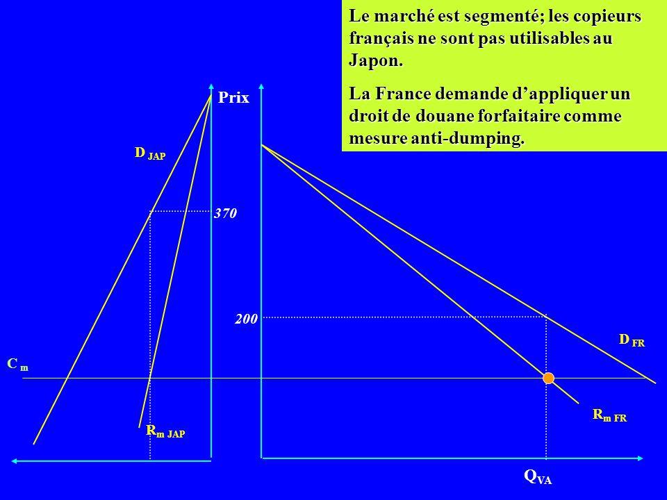 Le marché est segmenté; les copieurs français ne sont pas utilisables au Japon.
