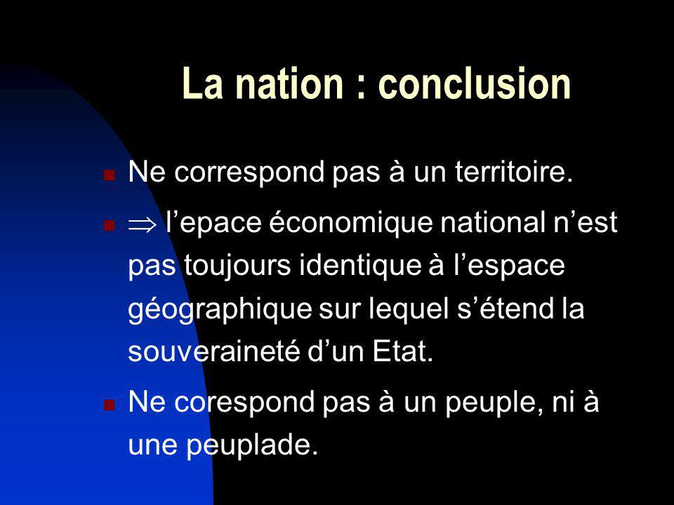 La nation : conclusion Ne correspond pas à un territoire.
