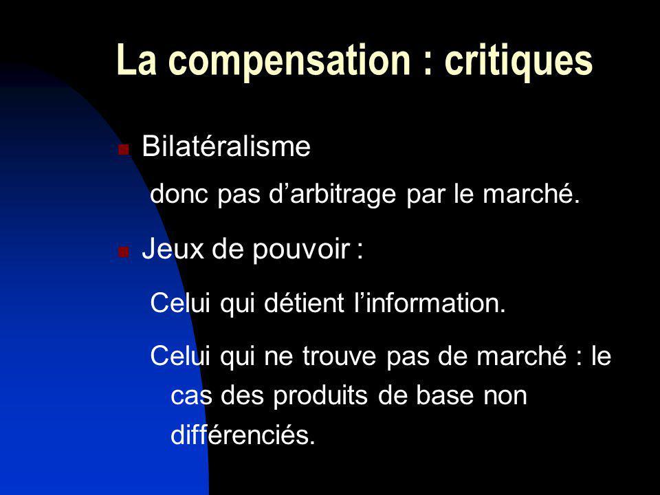 La compensation : critiques