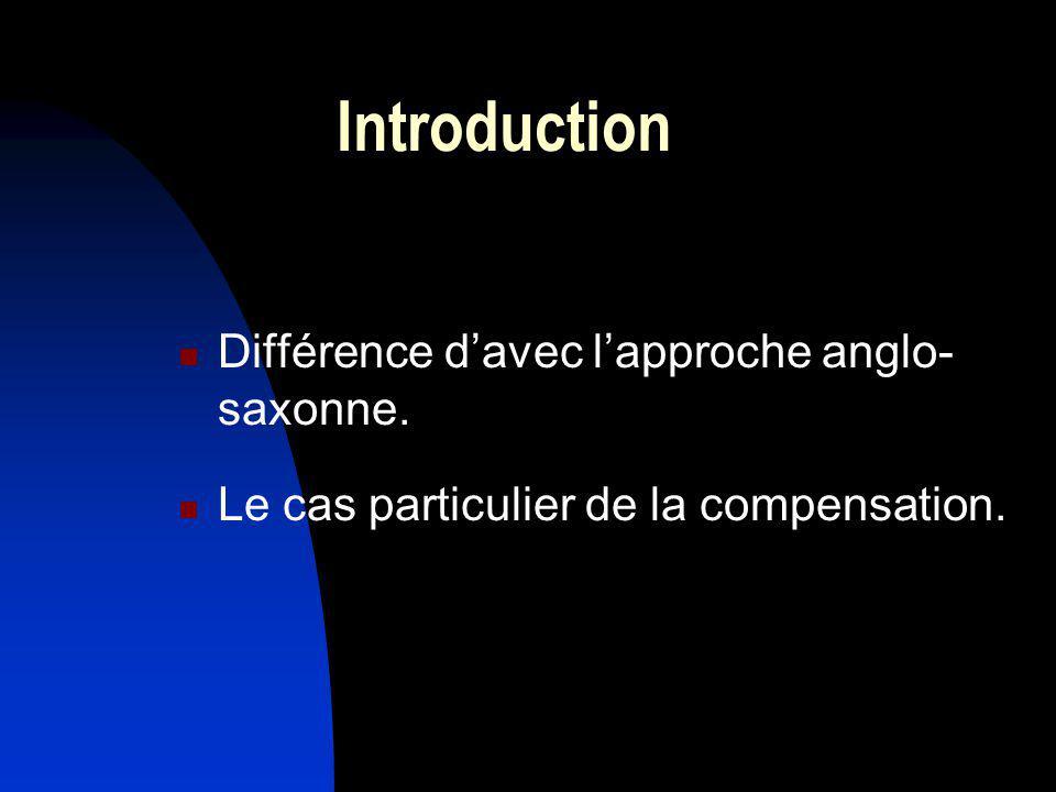 Introduction Différence d'avec l'approche anglo-saxonne.