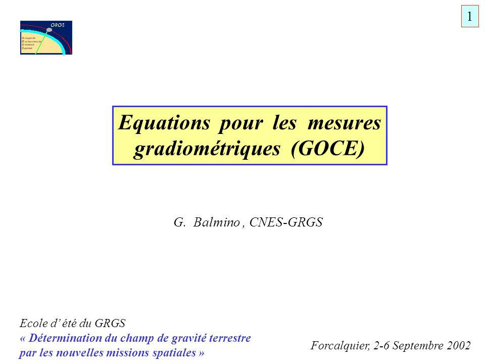 Equations pour les mesures gradiométriques (GOCE)