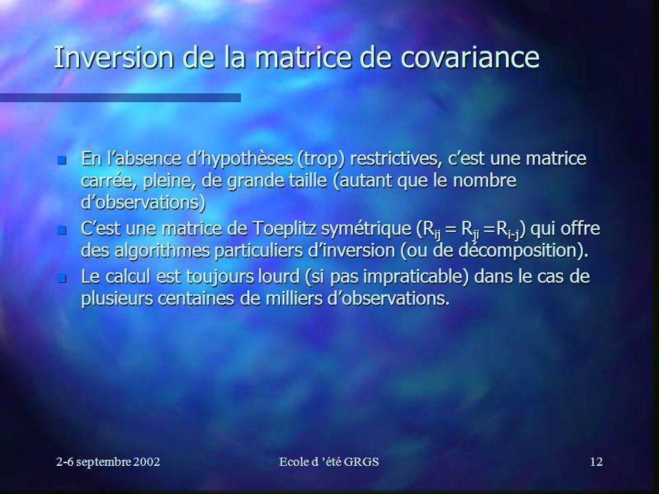 Inversion de la matrice de covariance