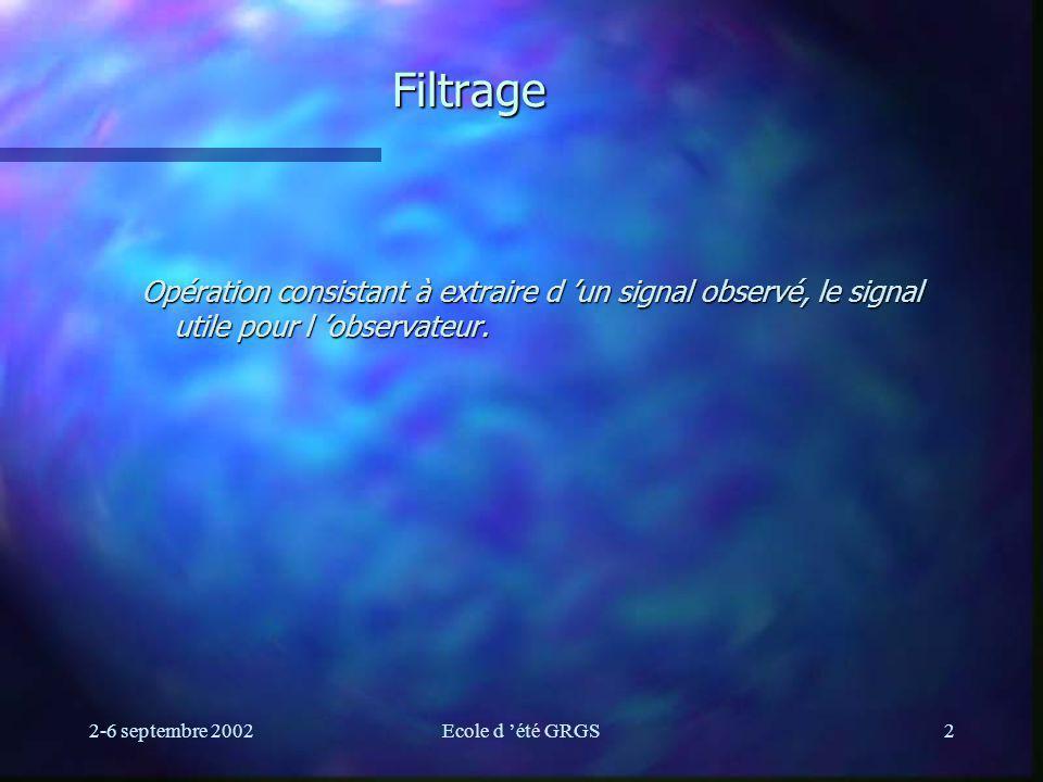Filtrage Opération consistant à extraire d 'un signal observé, le signal utile pour l 'observateur.