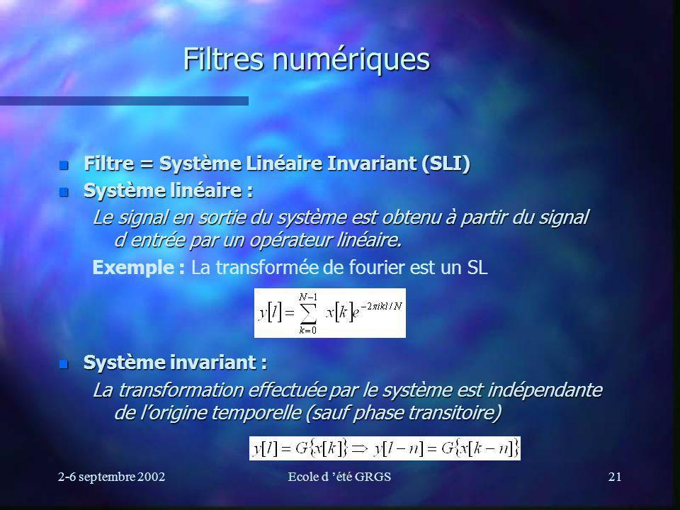 Filtres numériques Filtre = Système Linéaire Invariant (SLI)