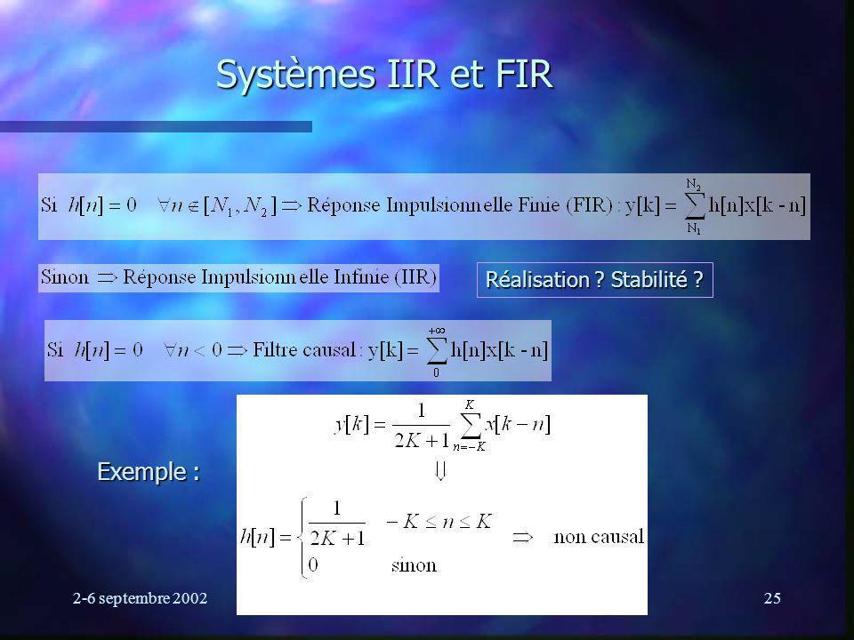 Systèmes IIR et FIR Exemple : Réalisation Stabilité
