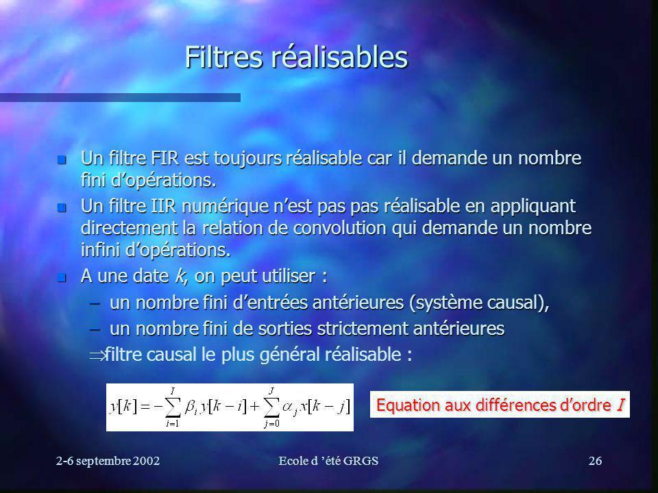 Filtres réalisables Un filtre FIR est toujours réalisable car il demande un nombre fini d'opérations.