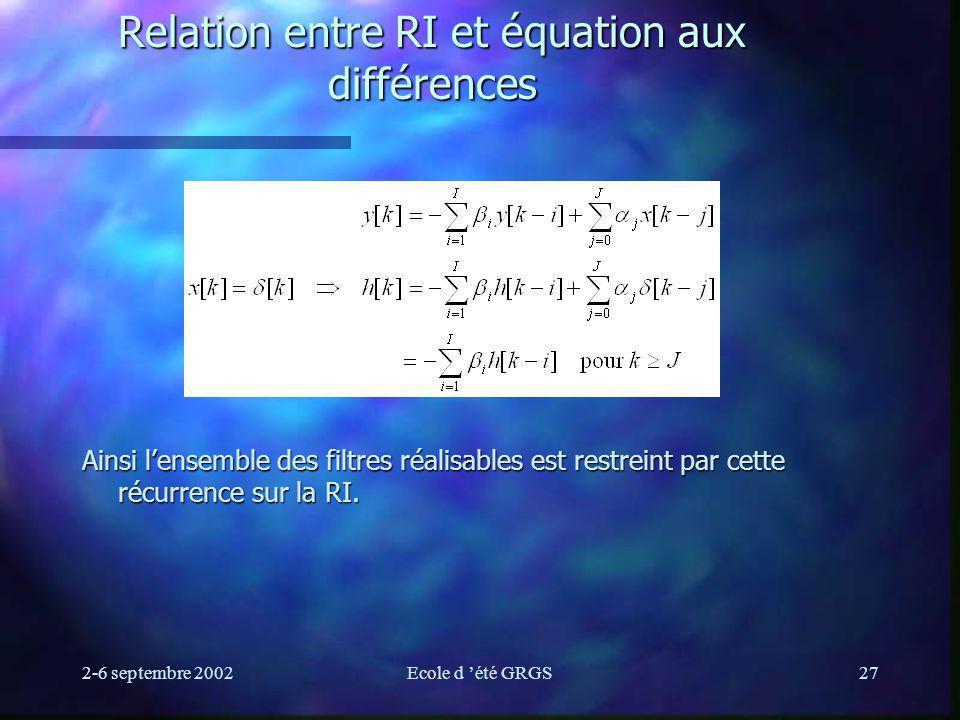 Relation entre RI et équation aux différences