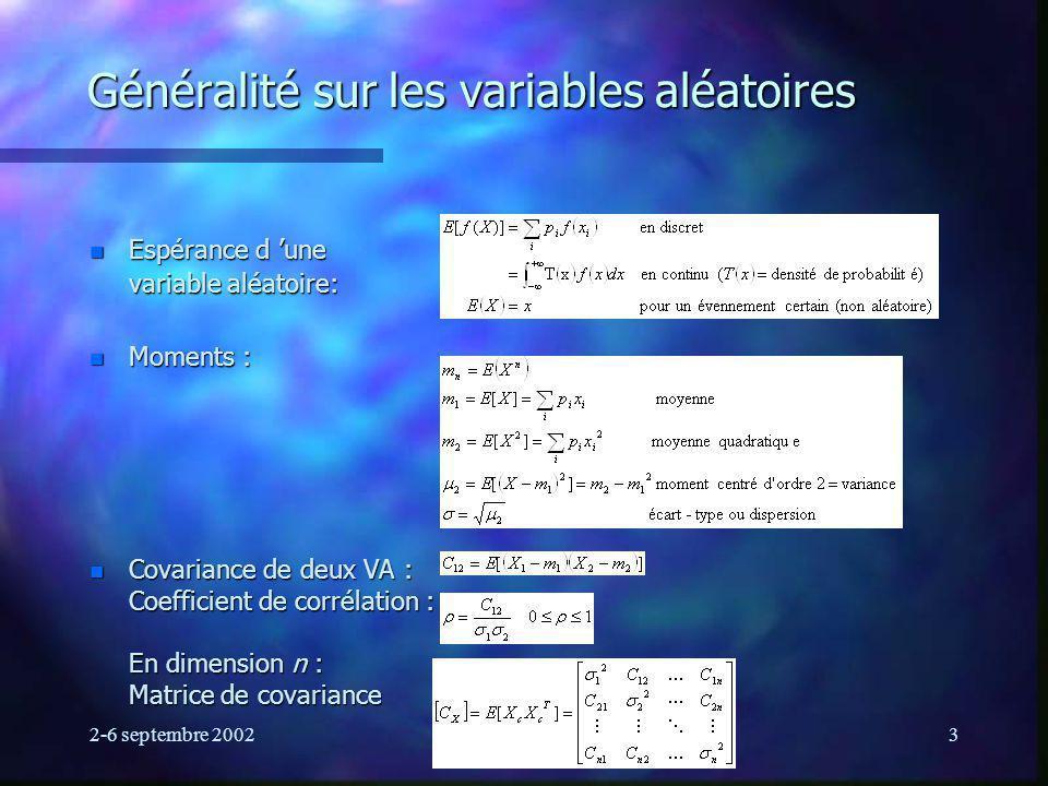 Généralité sur les variables aléatoires