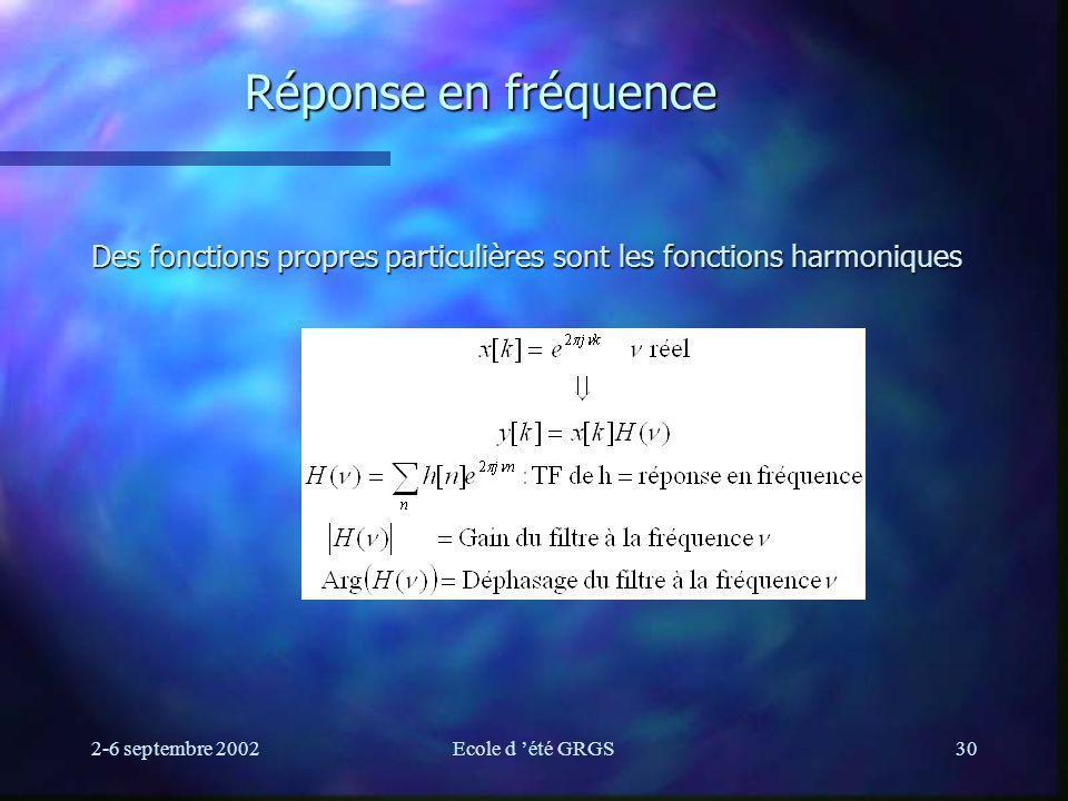 Réponse en fréquence Des fonctions propres particulières sont les fonctions harmoniques. 2-6 septembre 2002.