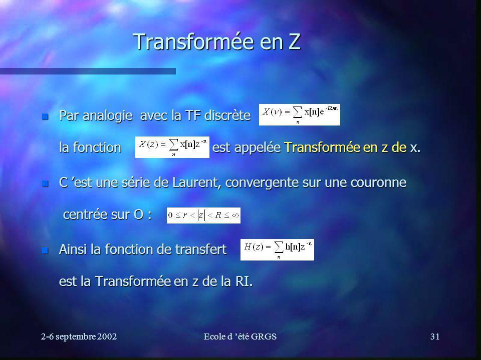 Transformée en Z Par analogie avec la TF discrète la fonction est appelée Transformée en z de x.