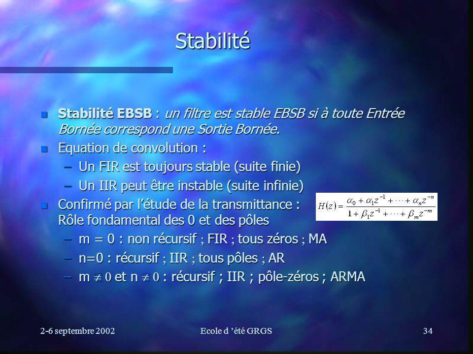 Stabilité Stabilité EBSB : un filtre est stable EBSB si à toute Entrée Bornée correspond une Sortie Bornée.
