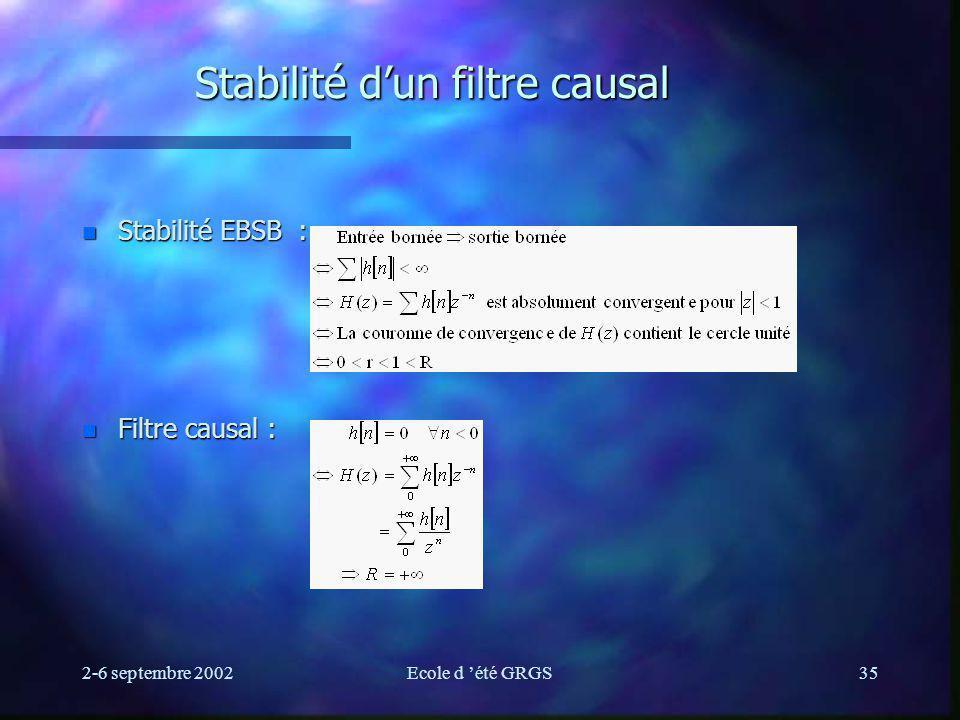 Stabilité d'un filtre causal