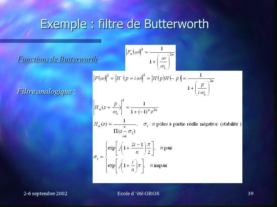 Exemple : filtre de Butterworth