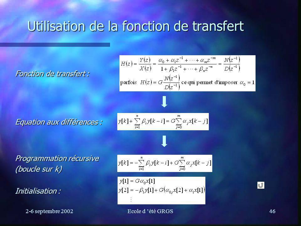 Utilisation de la fonction de transfert