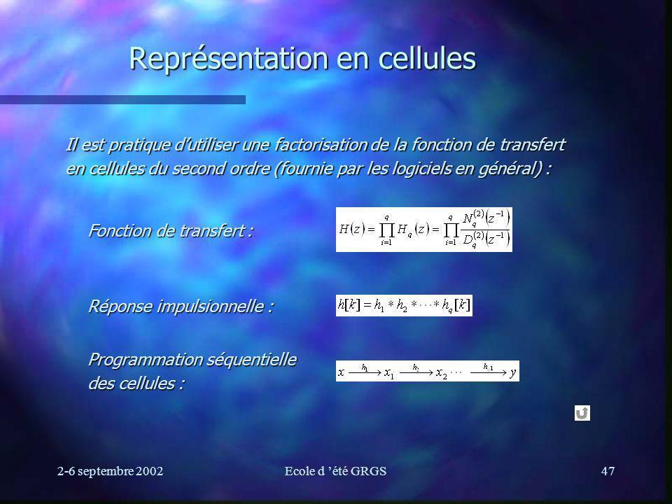 Représentation en cellules