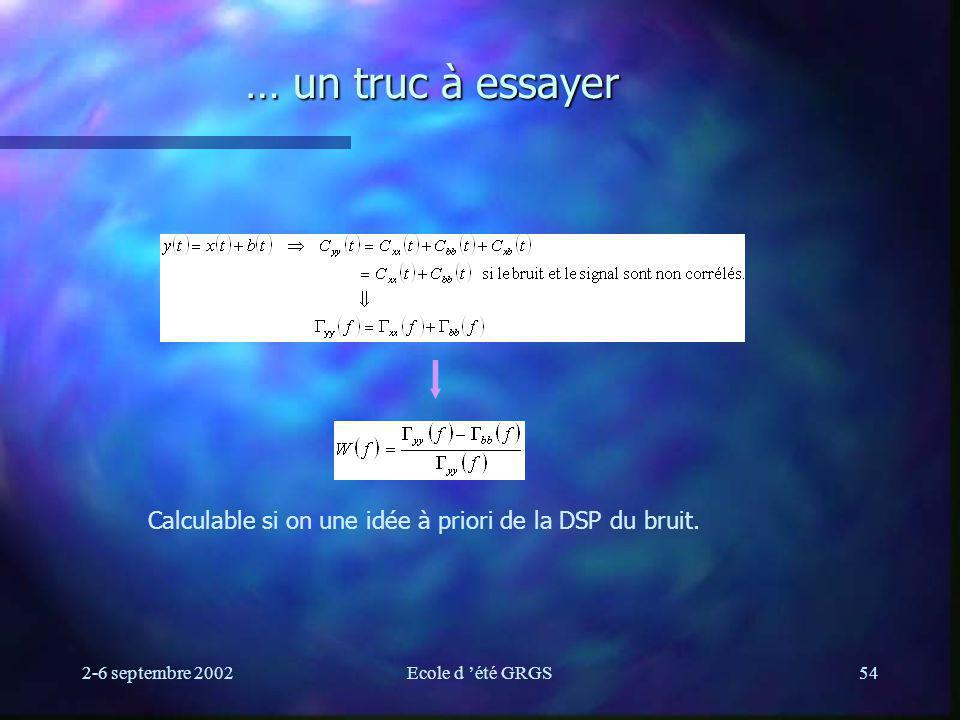 … un truc à essayer Calculable si on une idée à priori de la DSP du bruit.