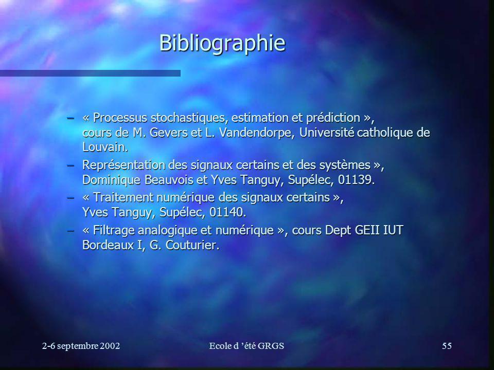 Bibliographie « Processus stochastiques, estimation et prédiction », cours de M. Gevers et L. Vandendorpe, Université catholique de Louvain.