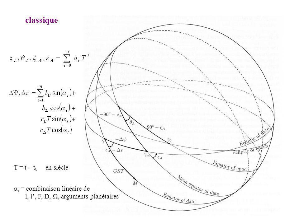 classique T = t – t0 en siècle ai = combinaison linéaire de