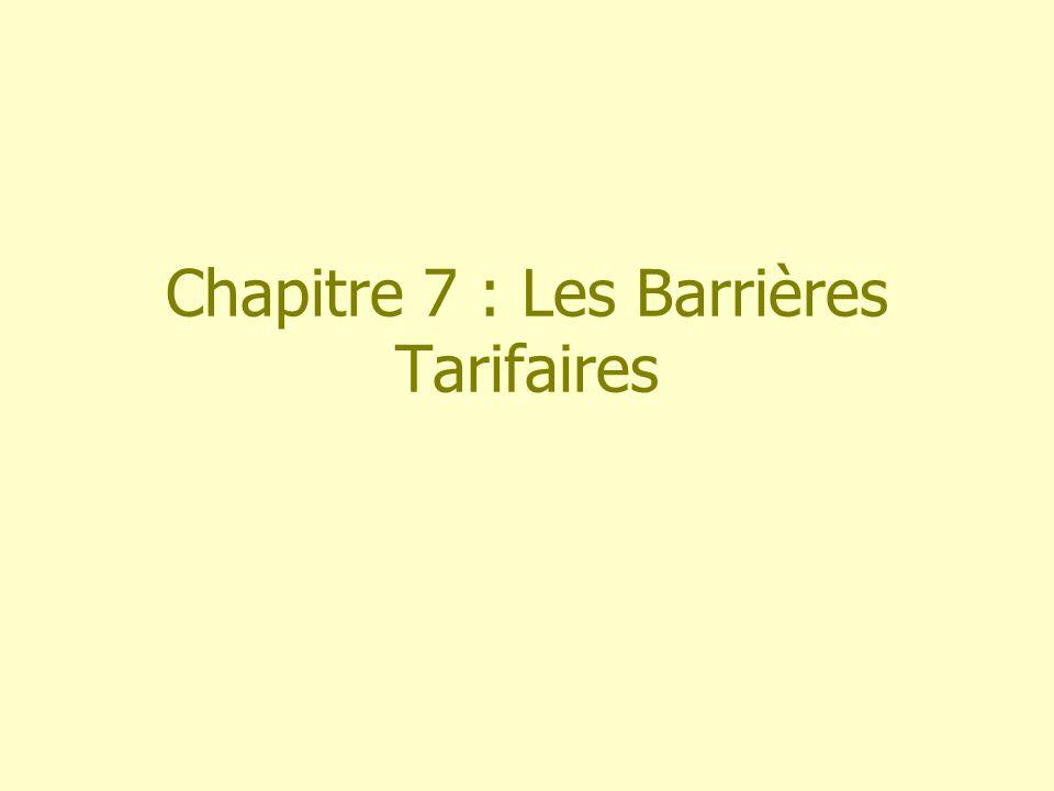 Chapitre 7 : Les Barrières Tarifaires