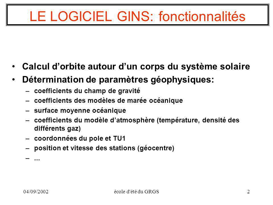 LE LOGICIEL GINS: fonctionnalités