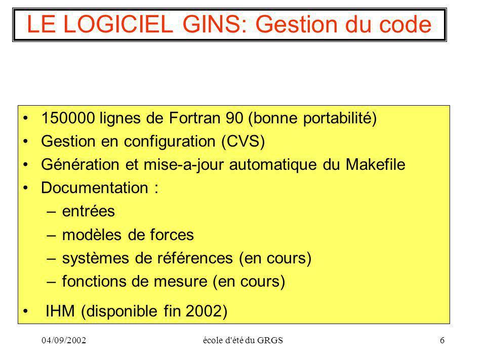 LE LOGICIEL GINS: Gestion du code