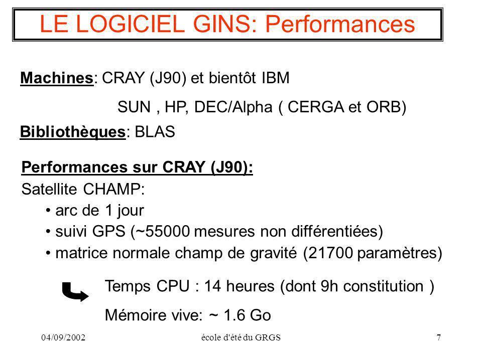 LE LOGICIEL GINS: Performances