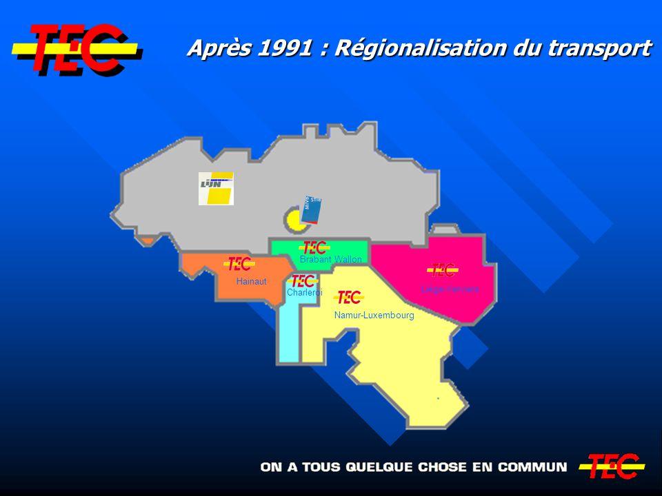 Après 1991 : Régionalisation du transport