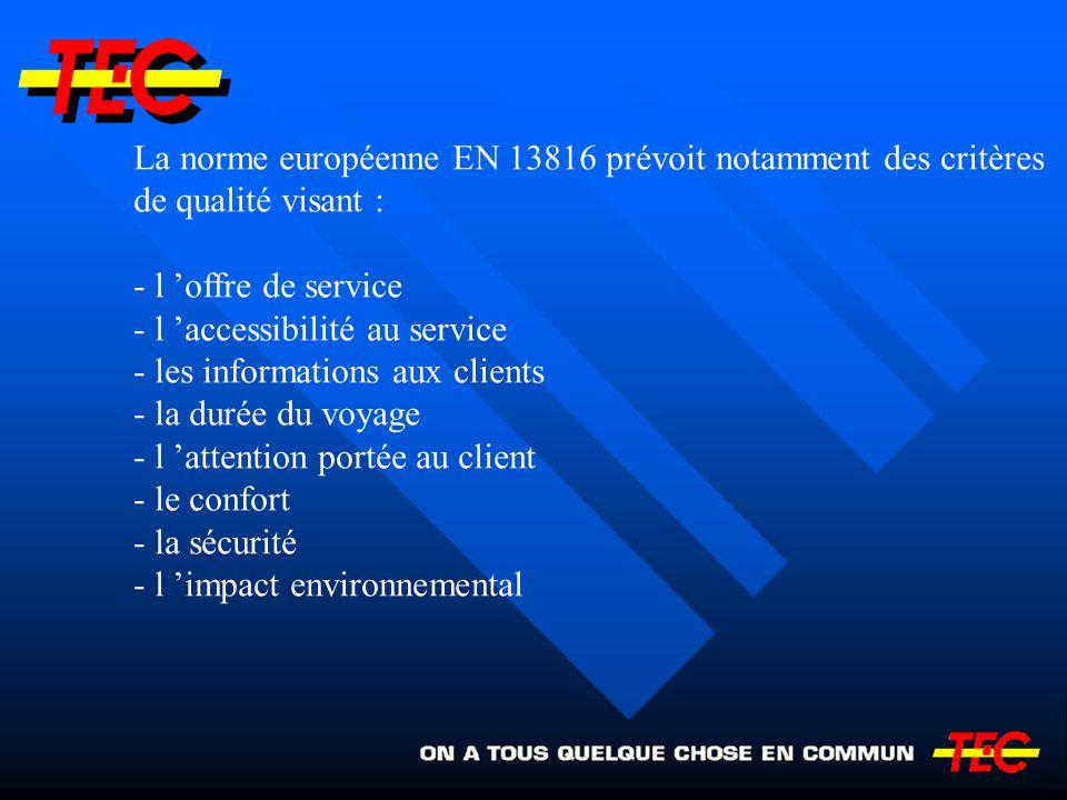 La norme européenne EN 13816 prévoit notamment des critères