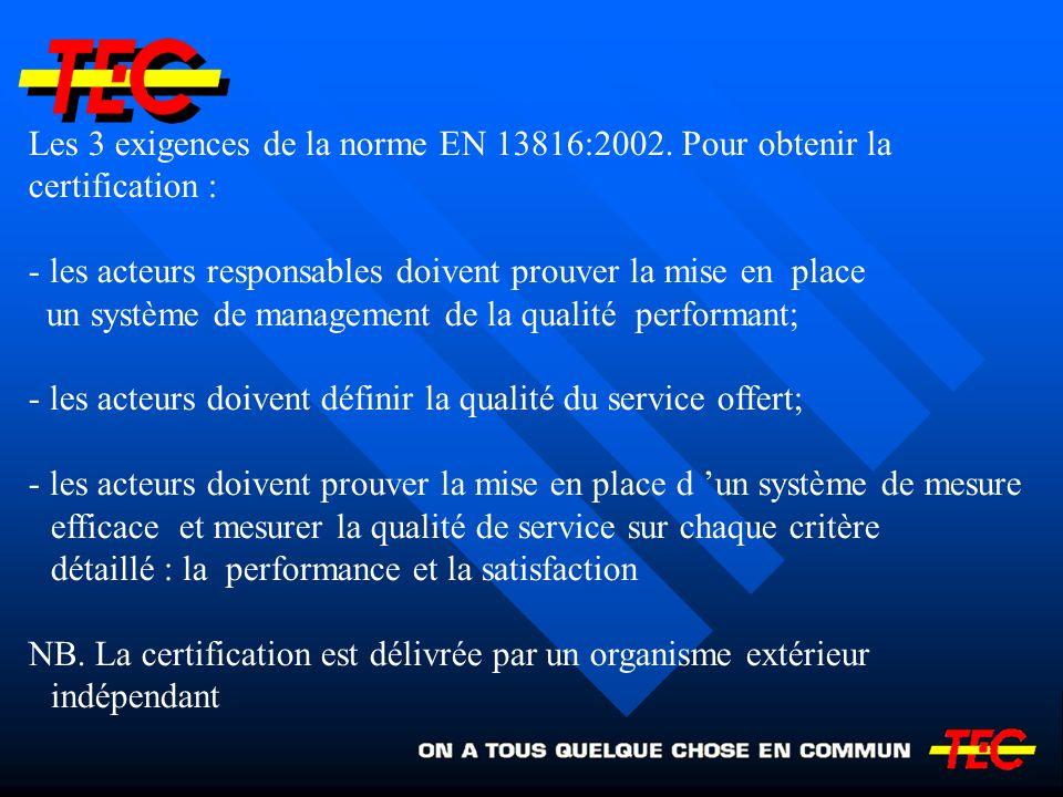 Les 3 exigences de la norme EN 13816:2002. Pour obtenir la