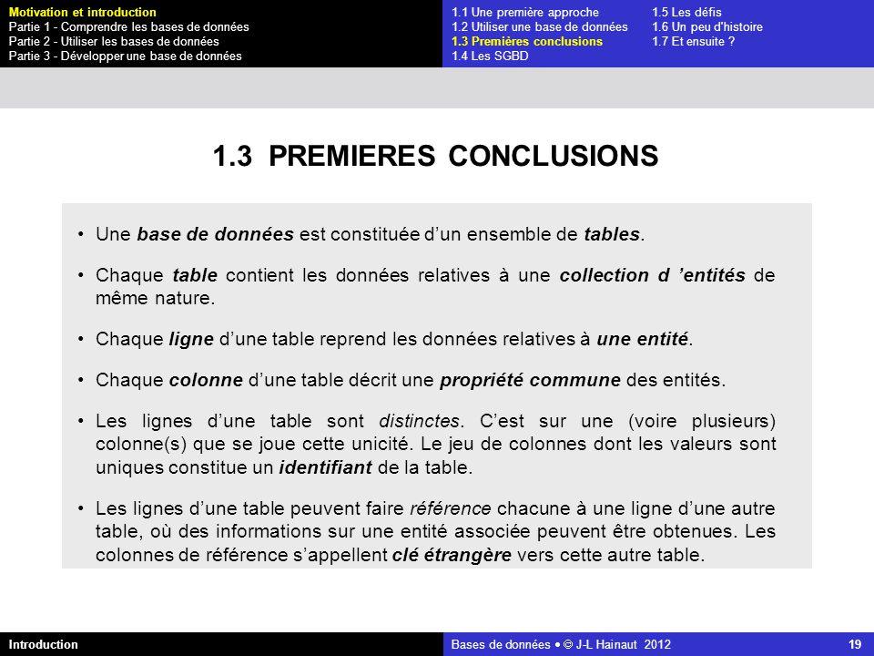 1.3 PREMIERES CONCLUSIONS