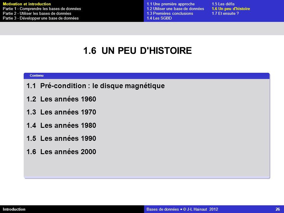 1.6 UN PEU D HISTOIRE 1.1 Pré-condition : le disque magnétique