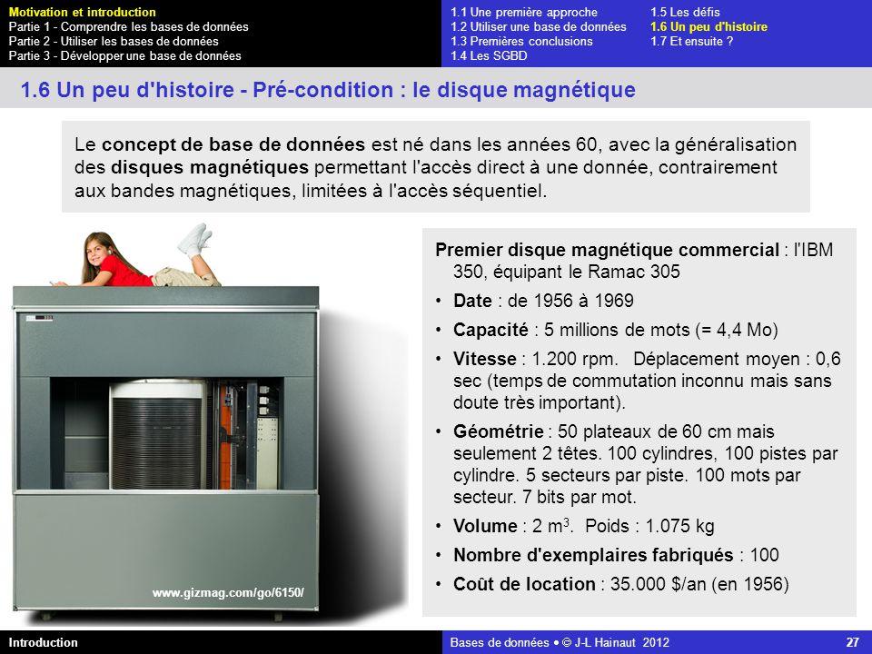 1.6 Un peu d histoire - Pré-condition : le disque magnétique