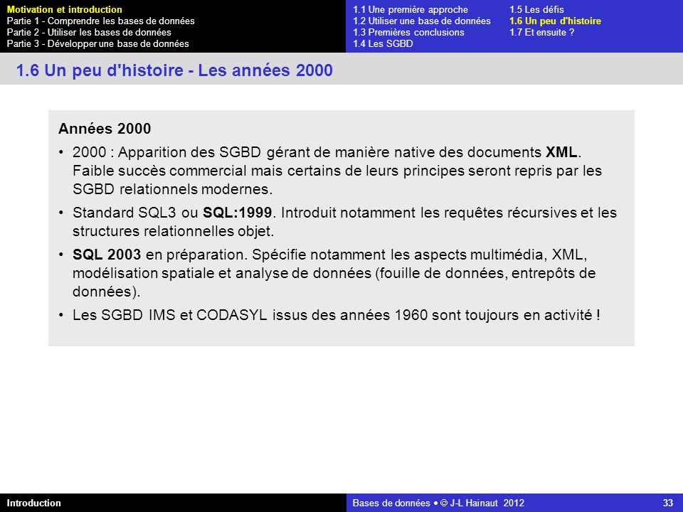 1.6 Un peu d histoire - Les années 2000