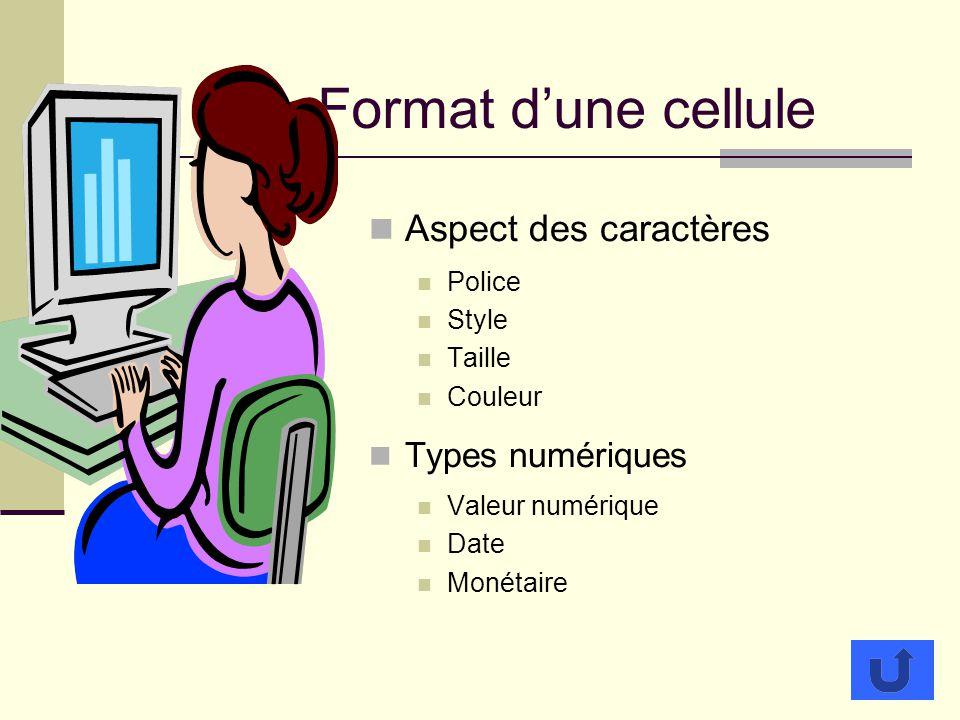 Format d'une cellule Aspect des caractères Types numériques Police