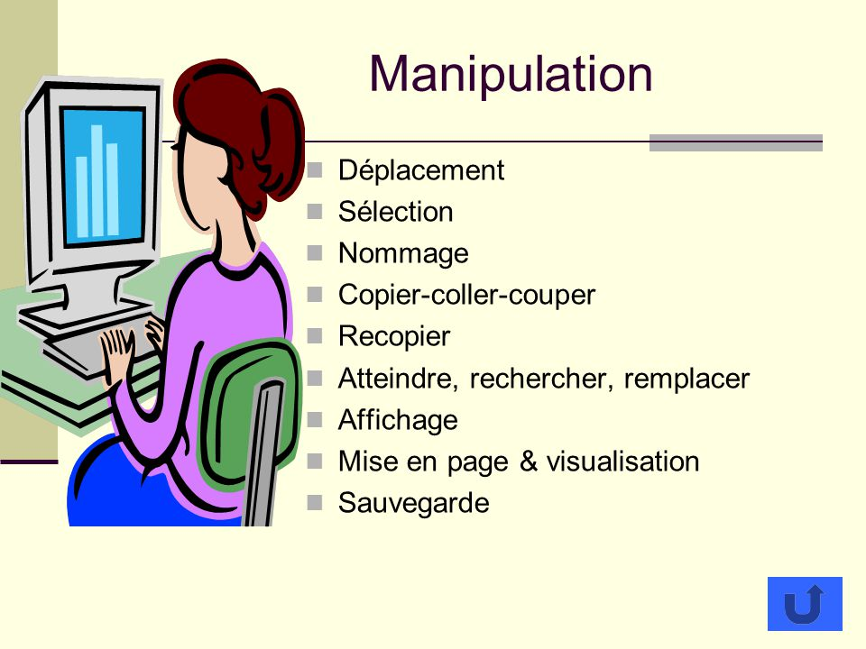 Manipulation Déplacement Sélection Nommage Copier-coller-couper
