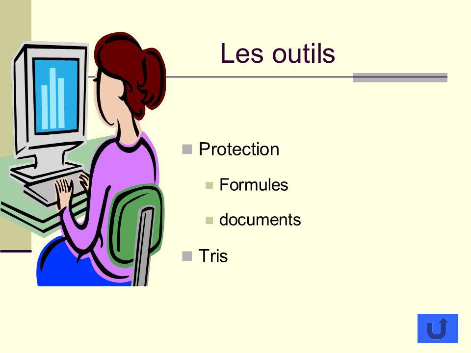 Les outils Protection Formules documents Tris
