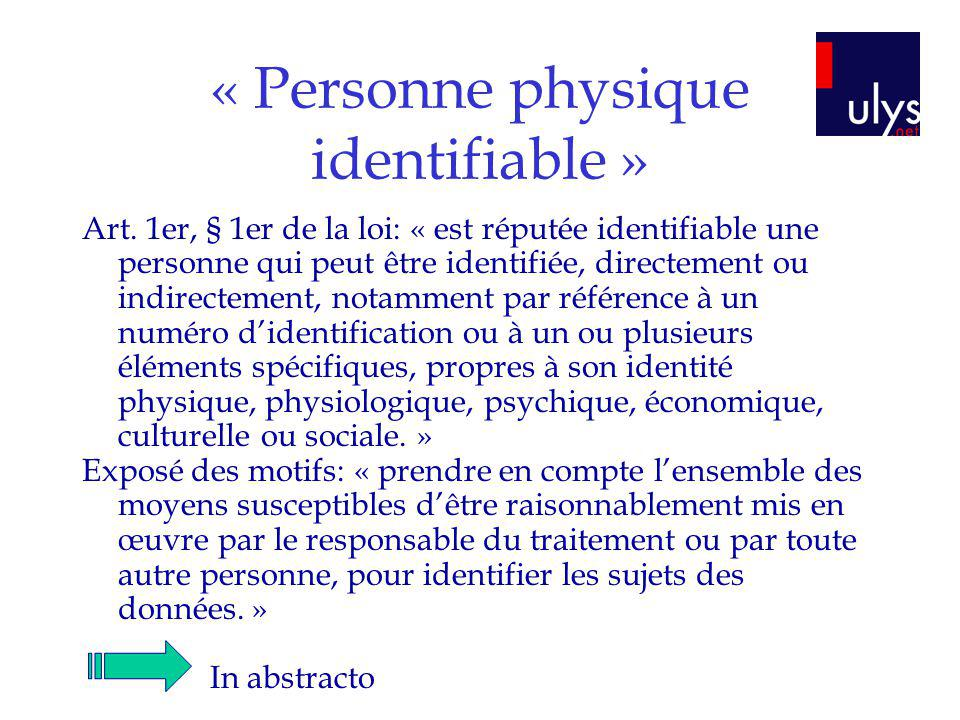 « Personne physique identifiable »