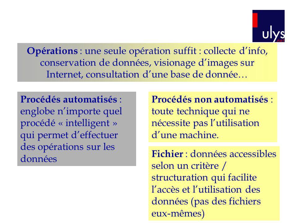 Opérations : une seule opération suffit : collecte d'info, conservation de données, visionage d'images sur Internet, consultation d'une base de donnée…