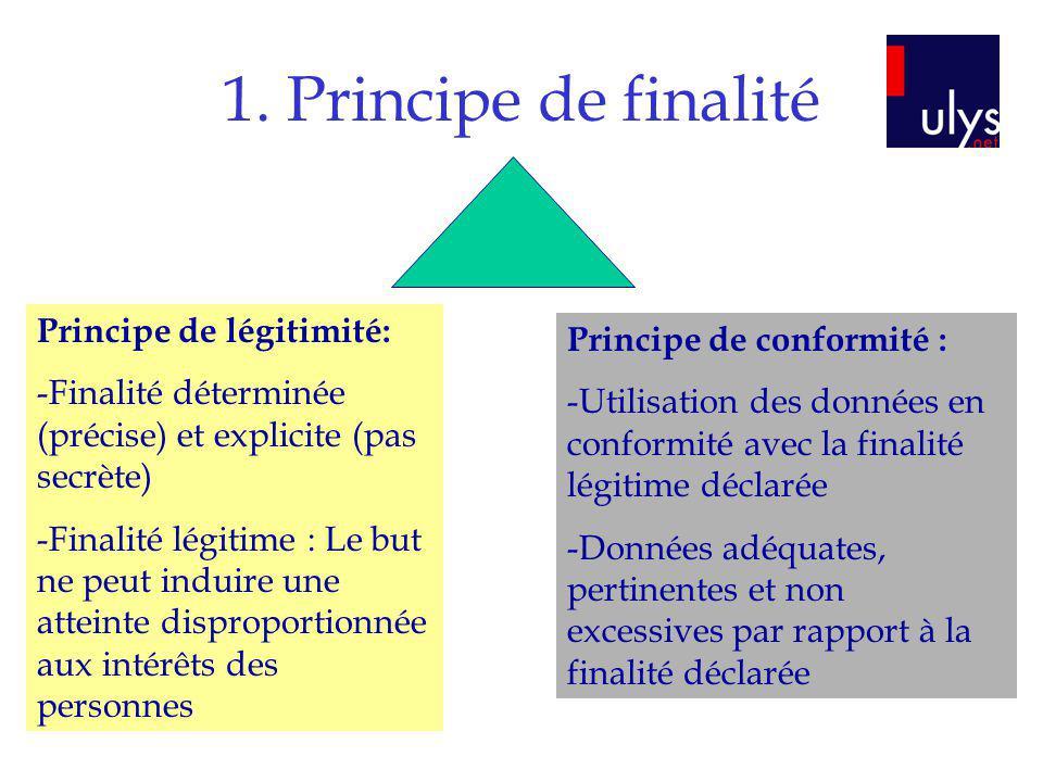 1. Principe de finalité Principe de légitimité: