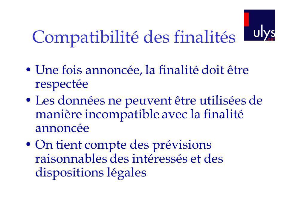 Compatibilité des finalités