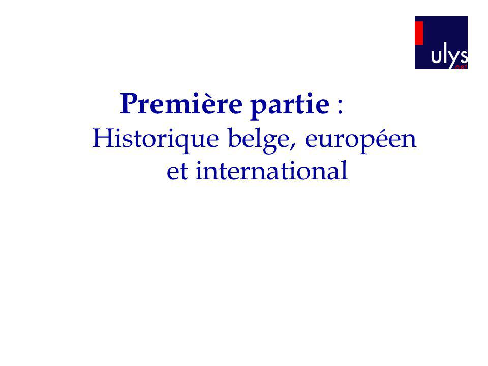 Première partie : Historique belge, européen et international