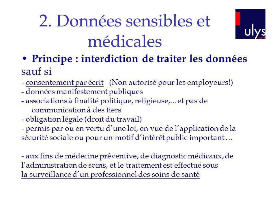 2. Données sensibles et médicales