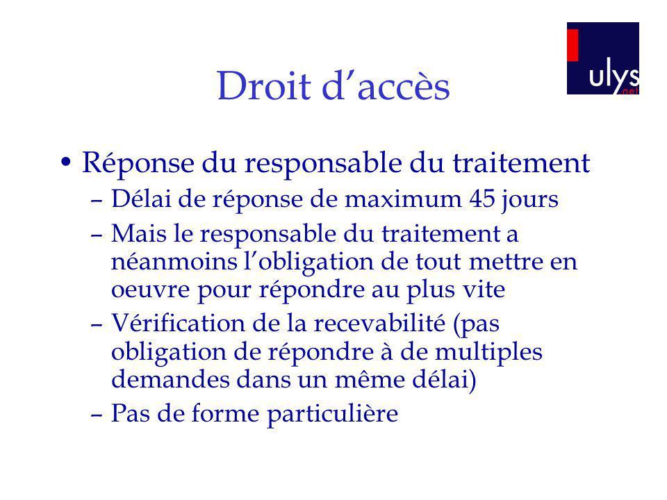 Droit d'accès Réponse du responsable du traitement