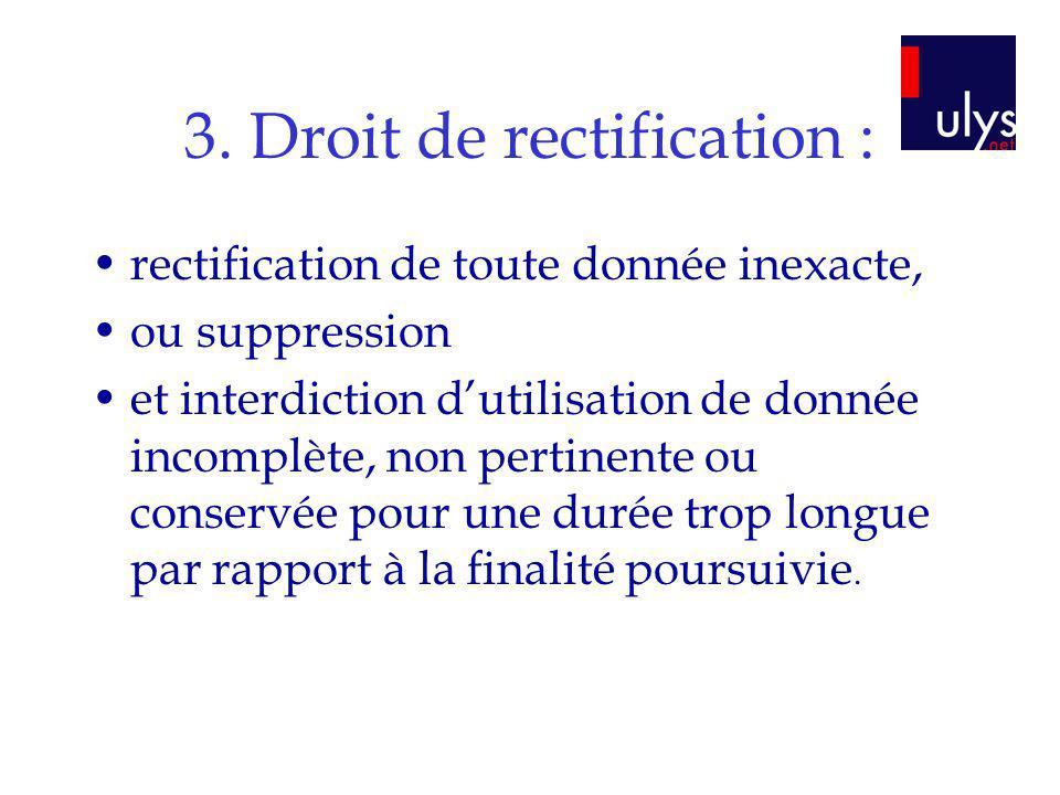 3. Droit de rectification :