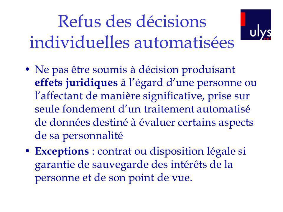 Refus des décisions individuelles automatisées