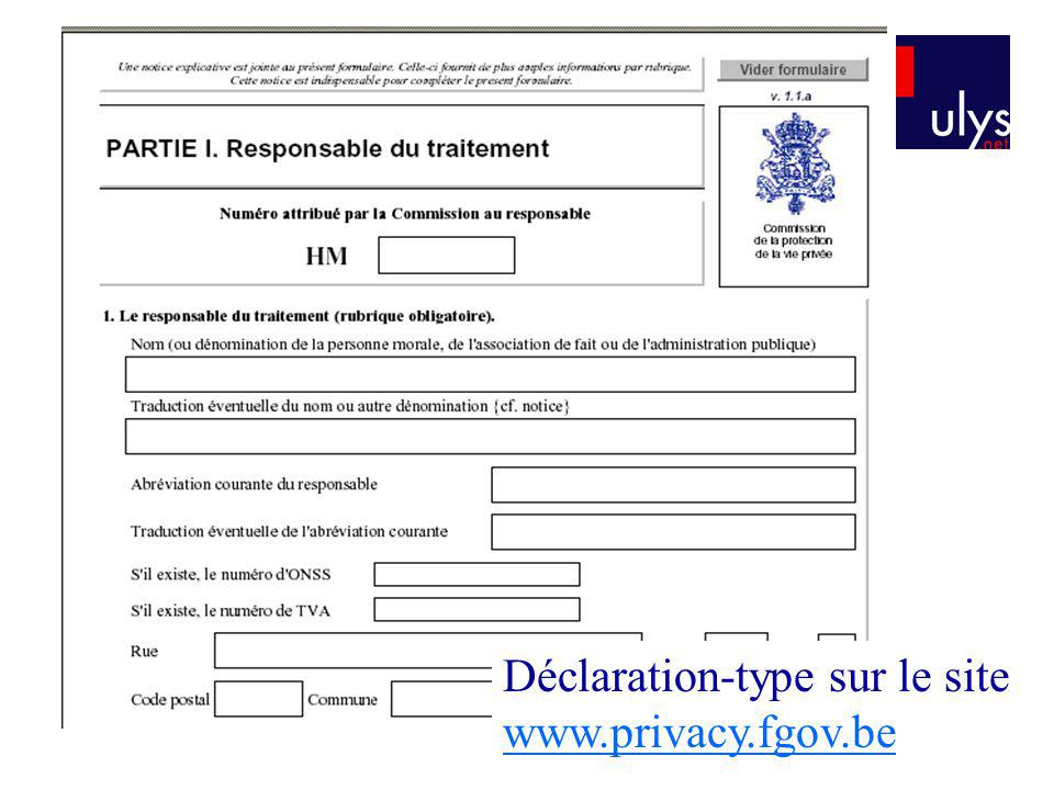 Déclaration-type sur le site www.privacy.fgov.be